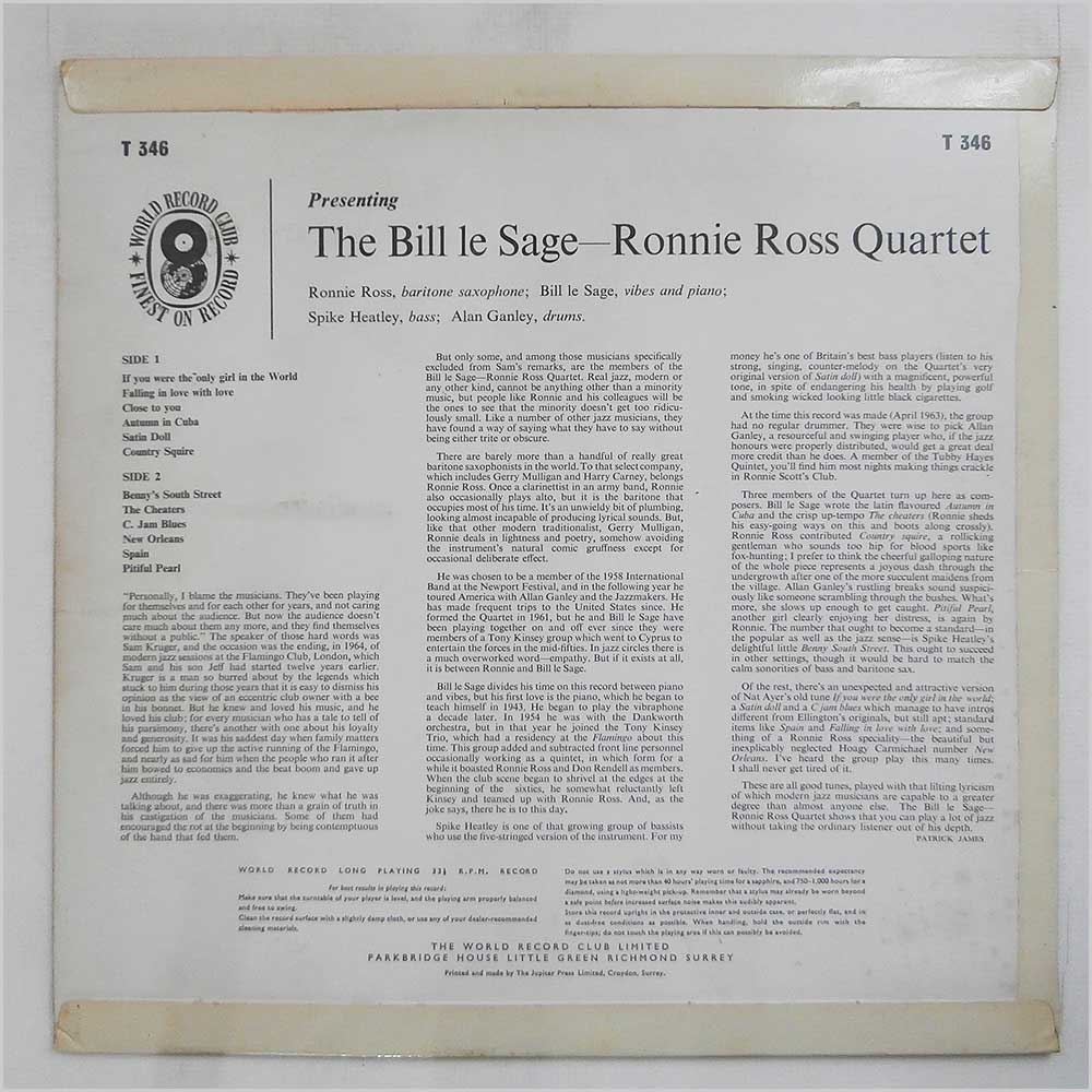 Ronnie Ross Quartet - The Bill Le Sage (T346)