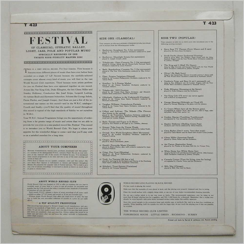 Richard Attenborough - Festival Of Classical, Operatic, Ballet, Light, Jazz, Folk And Popular Music (T 423)