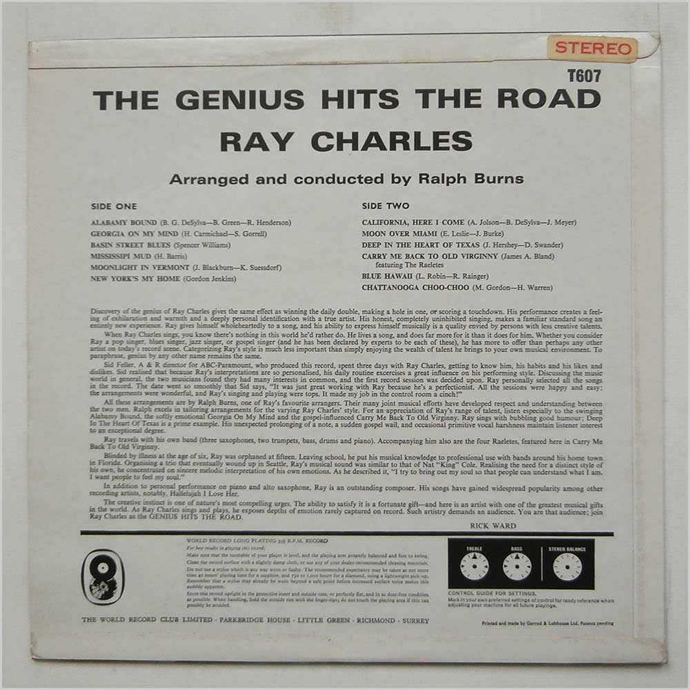 Ray Charles - Genius Hits The Road (T607)