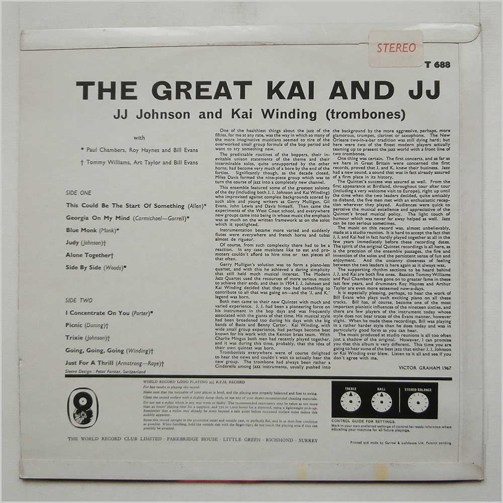 J. J. Johnson And Kai Winding - The Great Kai And J.J. (T 688)