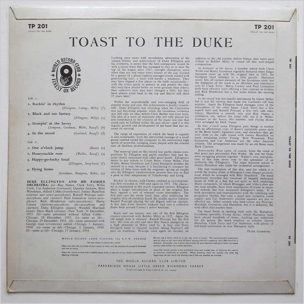 Duke Ellington - Toast To The Duke (TP 201)