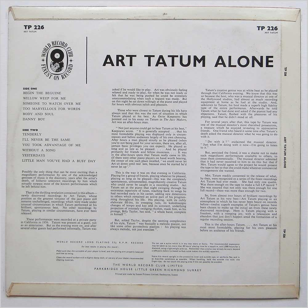 Art Tatum - Alone (TP 226)