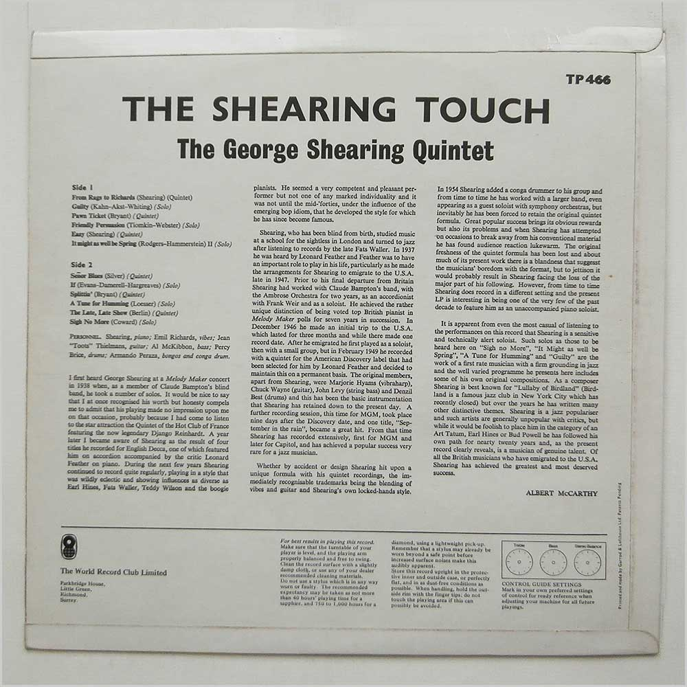 George Shearing - The Shearing Touch (TP 466)