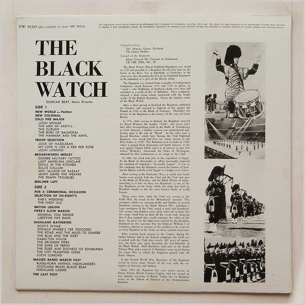 The Pipes And Drums And The Band Of The Black Watch - Black Watch (TW 91325)