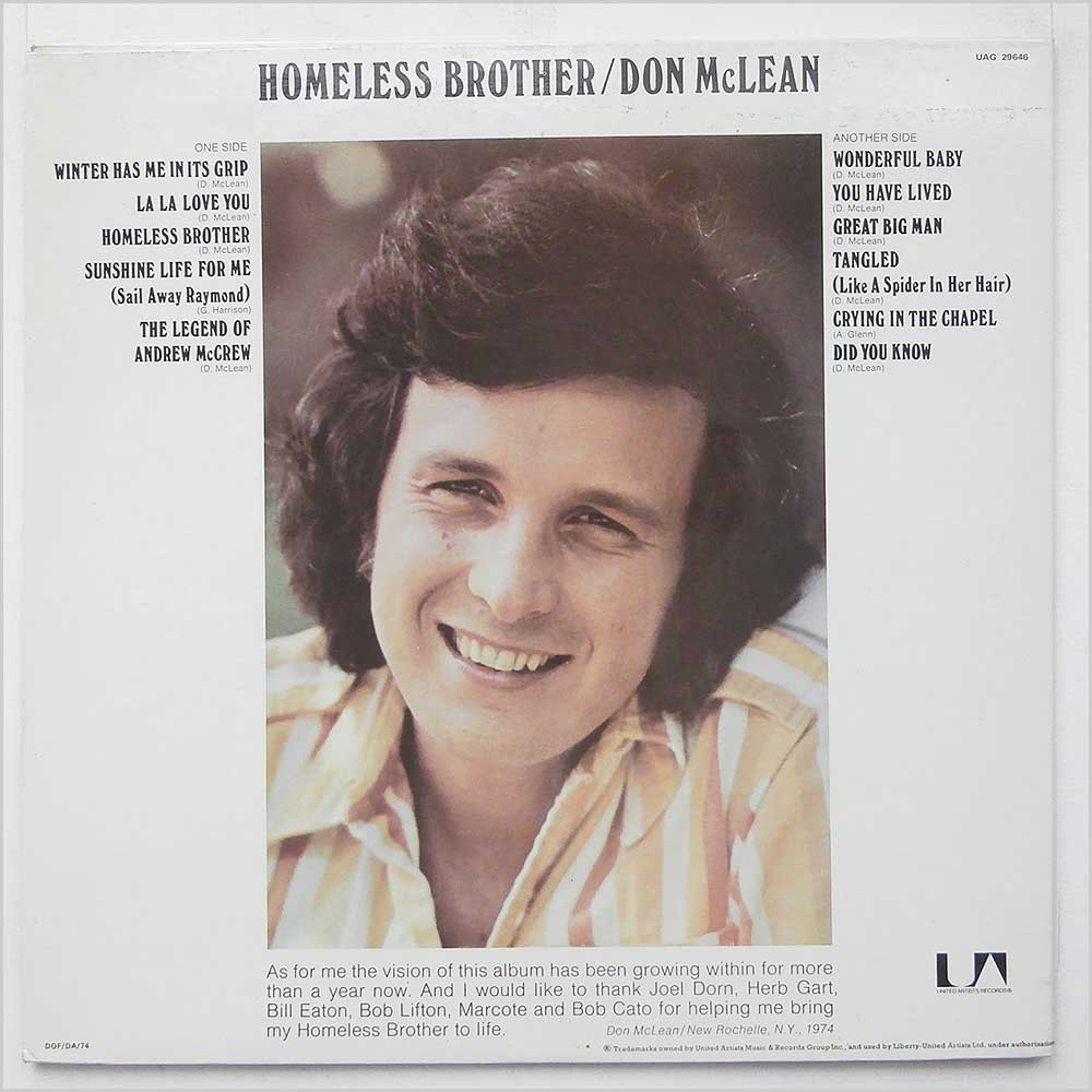Don McLean - Homeless Brother (UAG 29646)