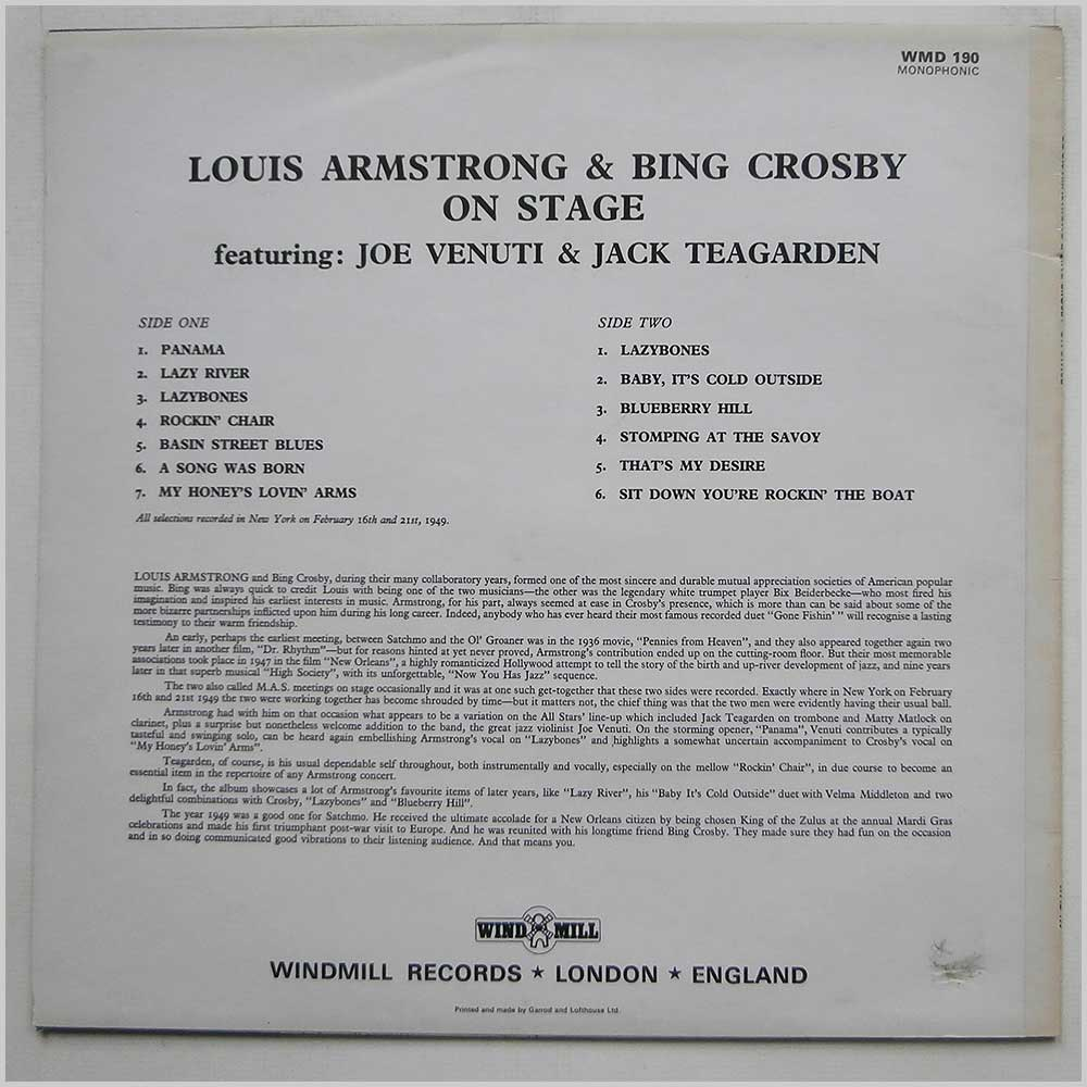 Louis Armstrong and Bing Crosby - Louis Armstrong And Bing Crosby On Stage (WMD 190)