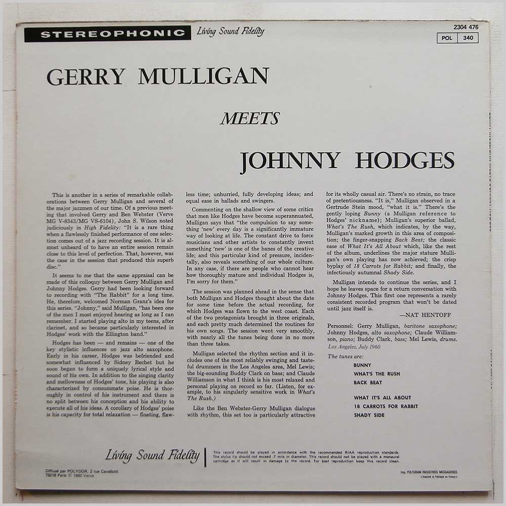 Gerry Mulligan, Johnny Hodges - Gerry Mulligan Meets Johnny Hodges (2304 476)