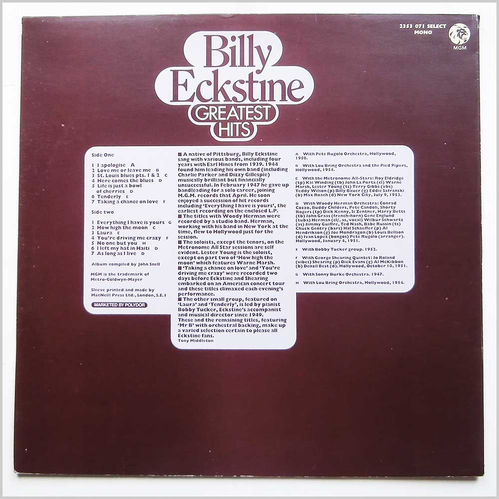 Billy Eckstine - Greatest Hits (2353 071)
