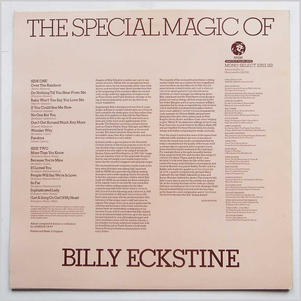 Billy Eckstine - The Special Magic Of Billy Eckstine (2353 122)