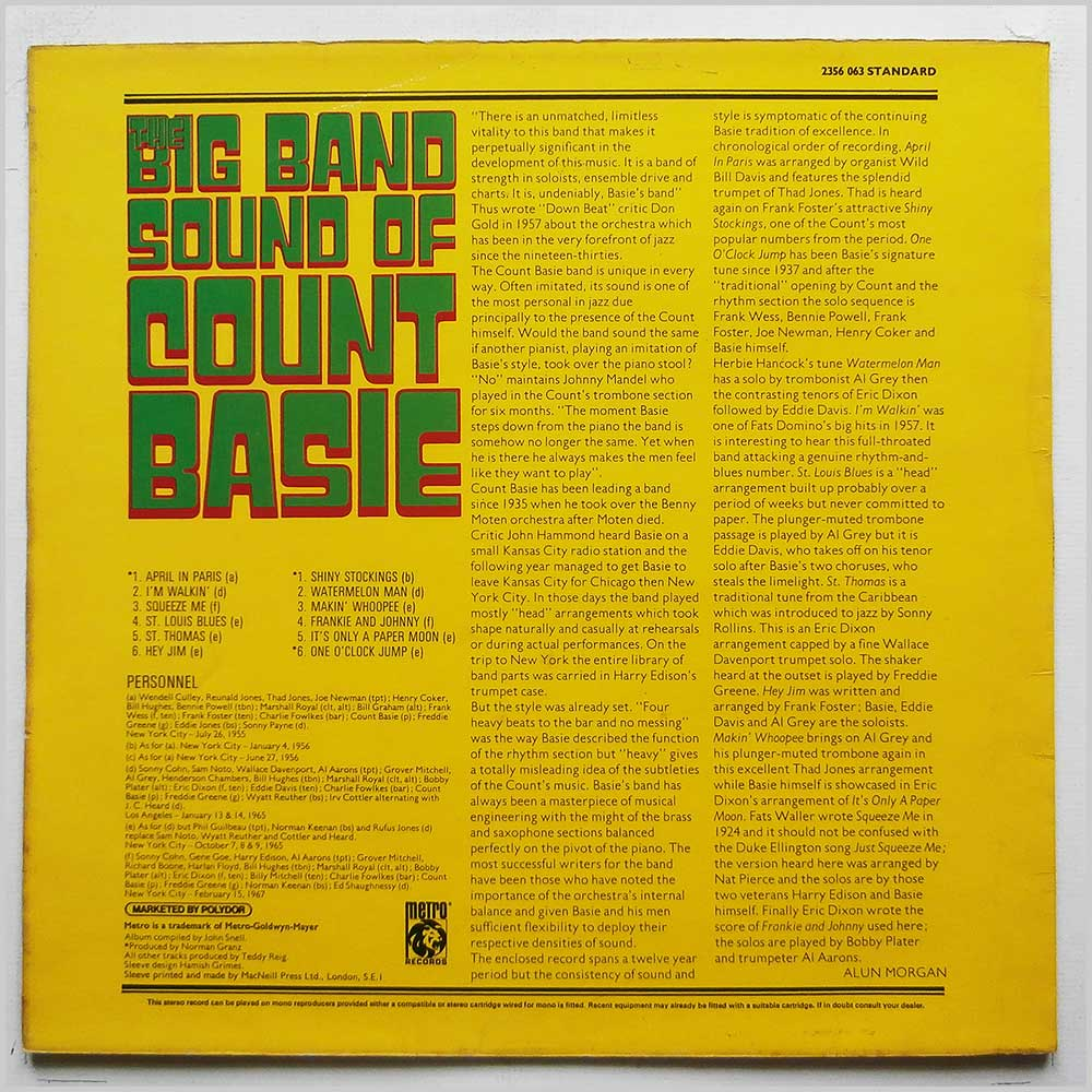Count Basie and His Orchestra - The Big Band Sound Of Count Basie (2356 063)