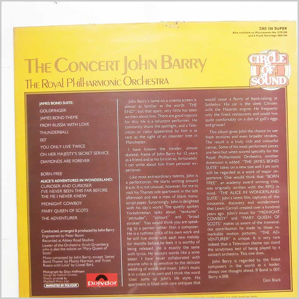 John Barry, The Royal Philharmonic Orchestra - The Concert Of John Barry (2383 156)