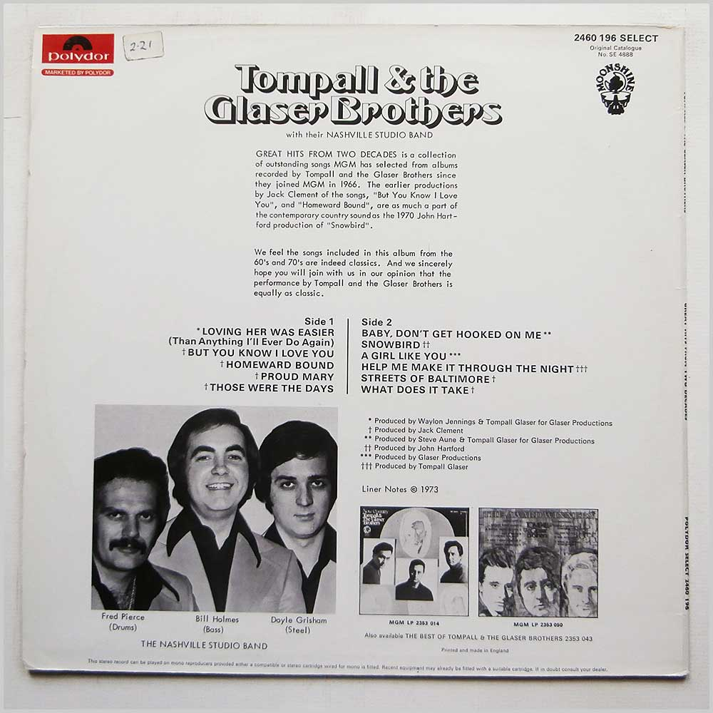 Tompall and The Glaser Brothers - Tompall and The Glaser Brothers Sing Great Hits From 2 Decades (2460 196)