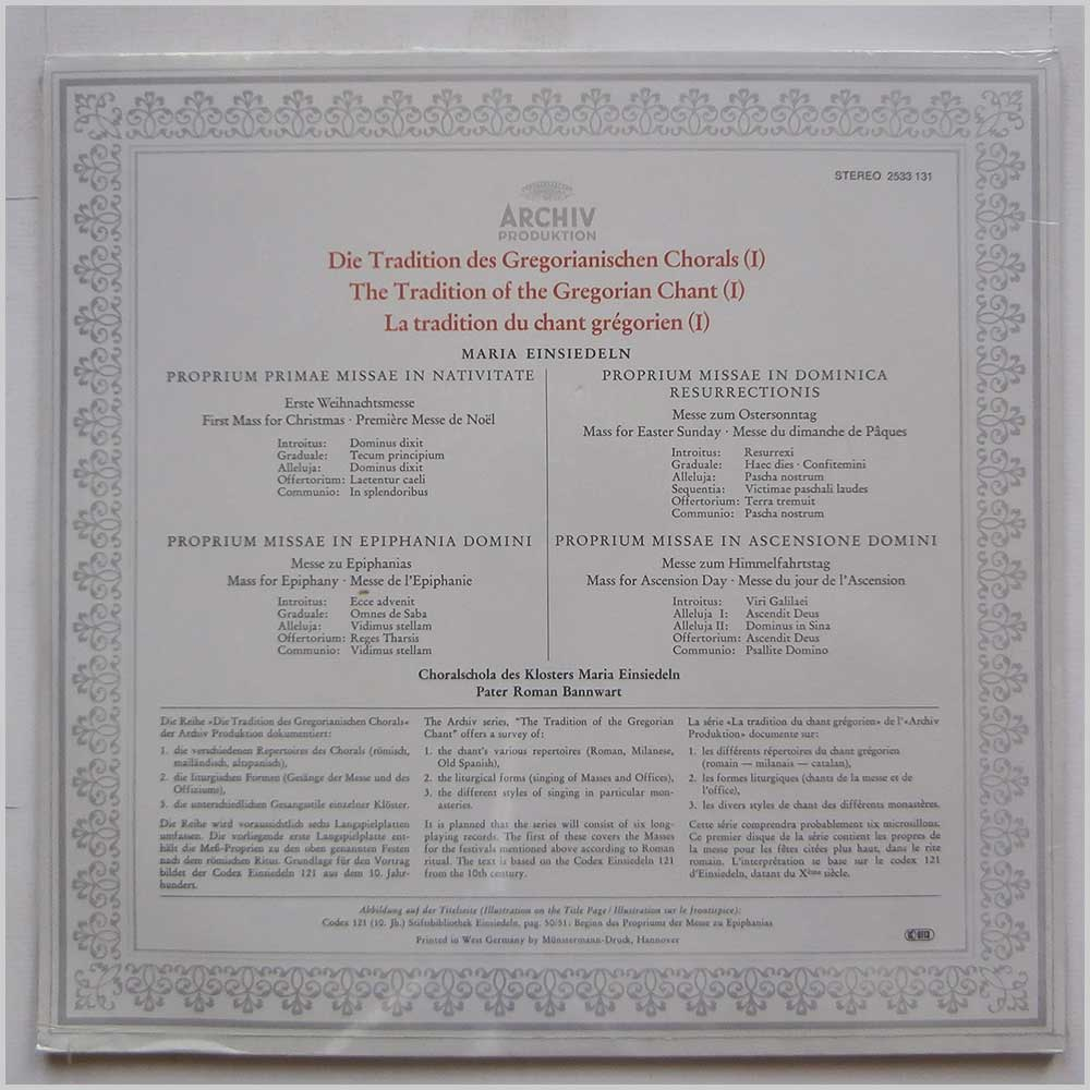 Choralschola Maria Einsiedeln and Pater Roman Bannwart - Gregorianischer Choral: The Tradition Of The Gregorian Chant (I) (2533 131)