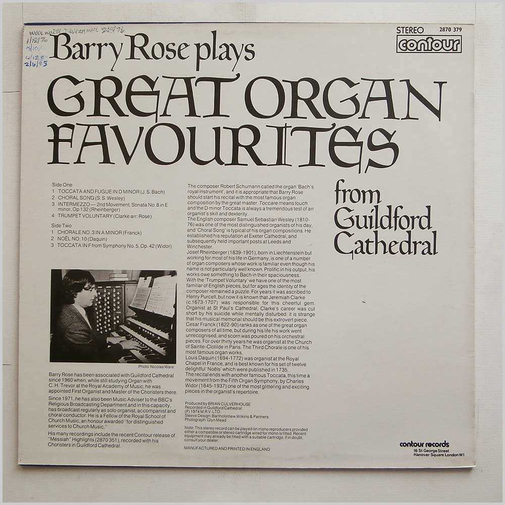 Barry Rose - Great Organ Favourites From Guildford Cathedral (2870 379)