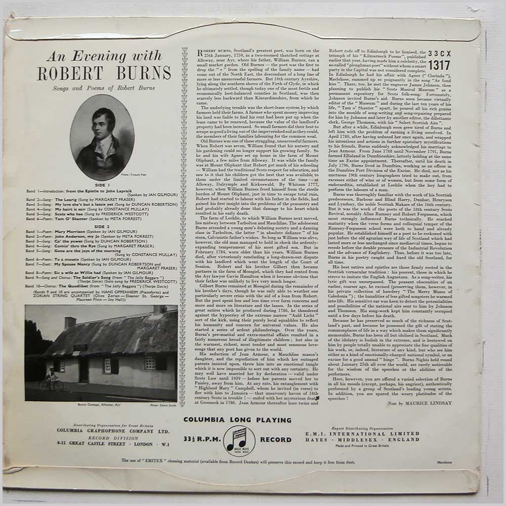 The Saltire Music Group - An Evening With Robert Burns Songs and Poems (33CX1317)
