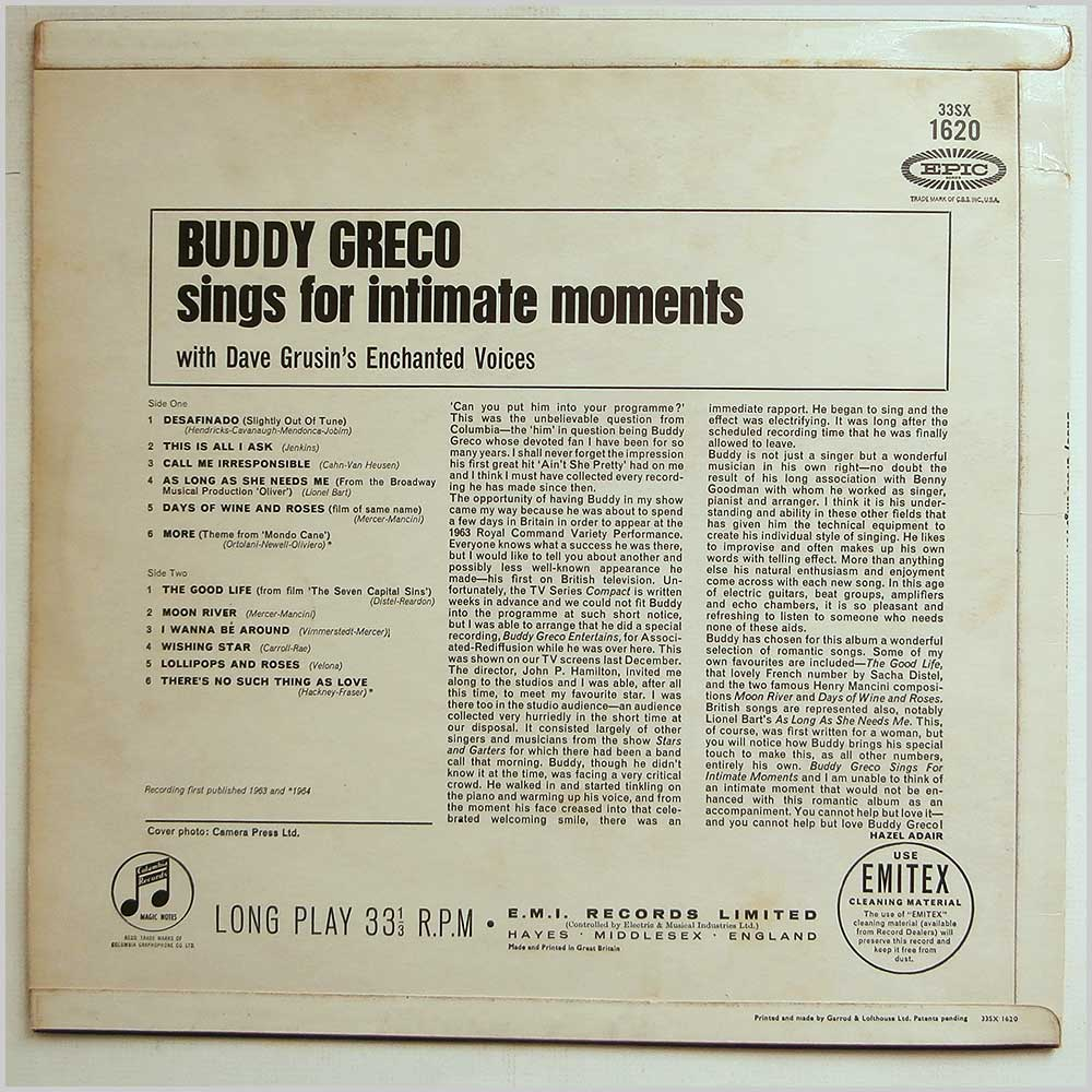 Buddy Greco - Buddy Greco Sings For Intimate Moments (33SX 1620)