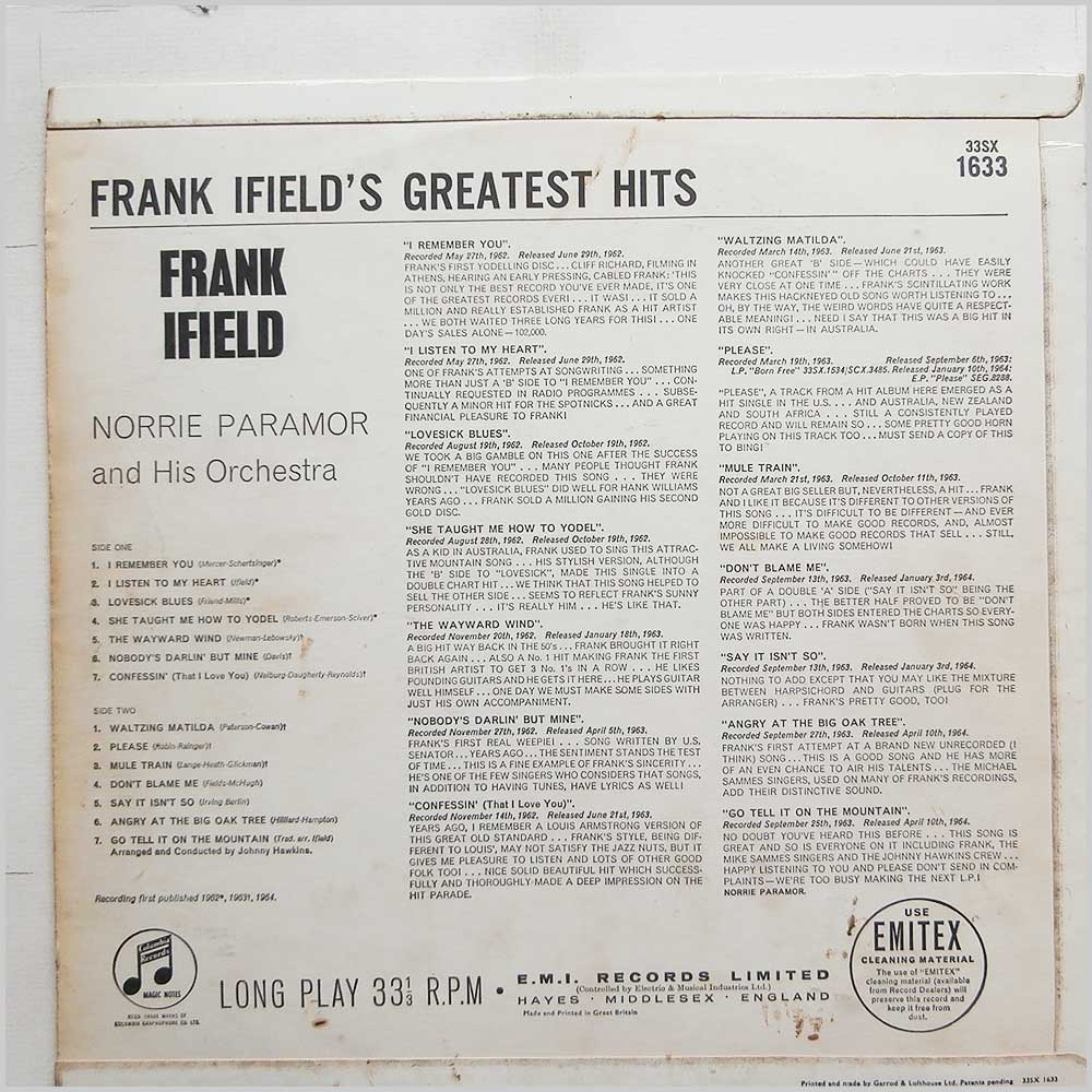 Frank Ifield - Frank Ifield's Greatest Hits (33SX 1633)