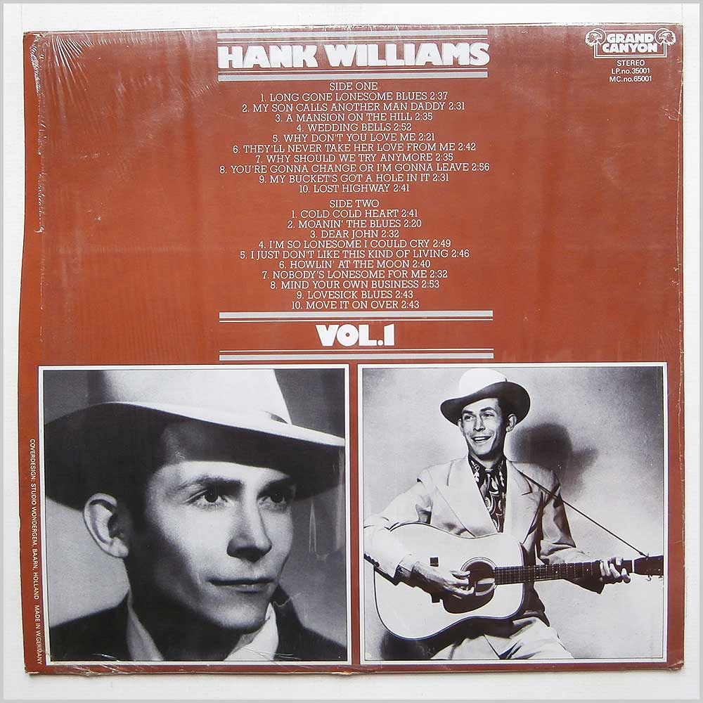 Hank Williams - 20 Greatest Hits Vol. 1 (35001)