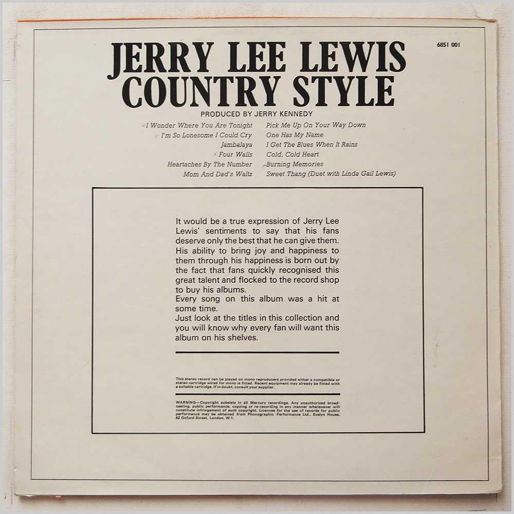Jerry Lee Lewis - Country Style (6851 001)