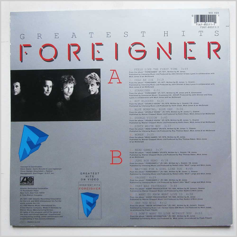 Foreigner - Greatest Hits (7567-80511-1)