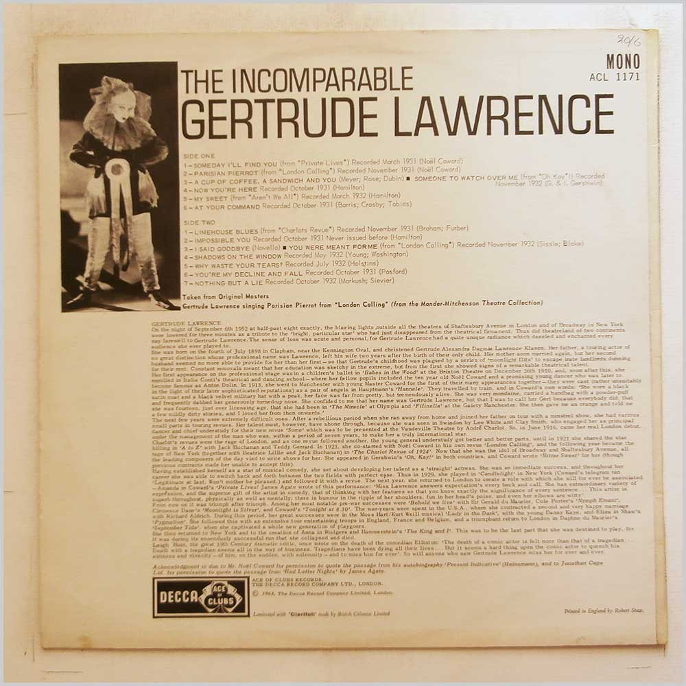 Gertrude Lawrence - The Incomparable Gertrude Lawrence (ACL 1171)