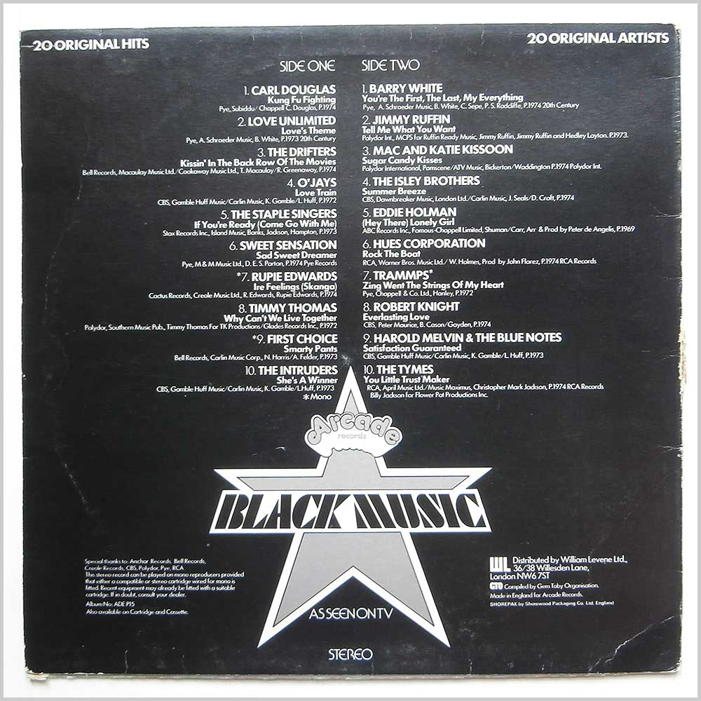Various - Black Music 20 Original Hits (ADE-P15)