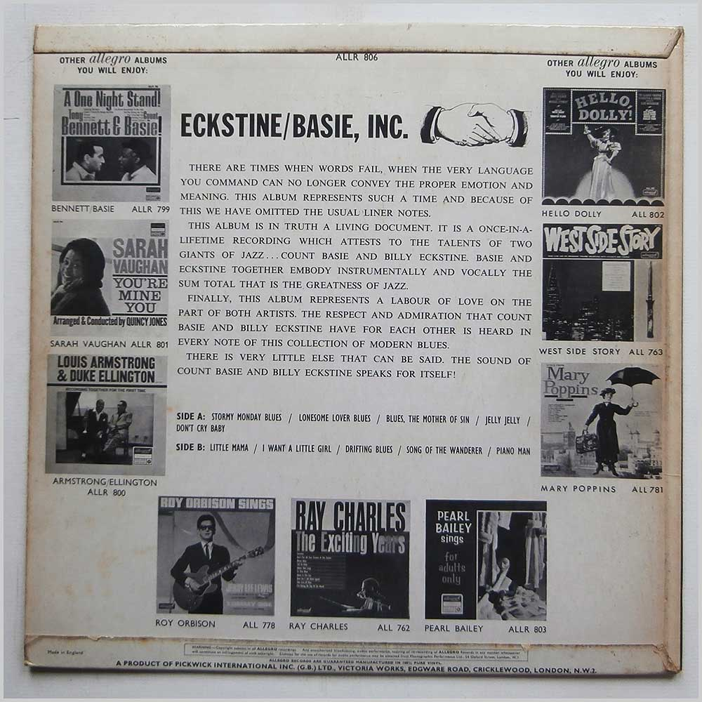 Count Basie and Billy Eckstine - Eckstine/Basie Incorporated (ALLR 806)