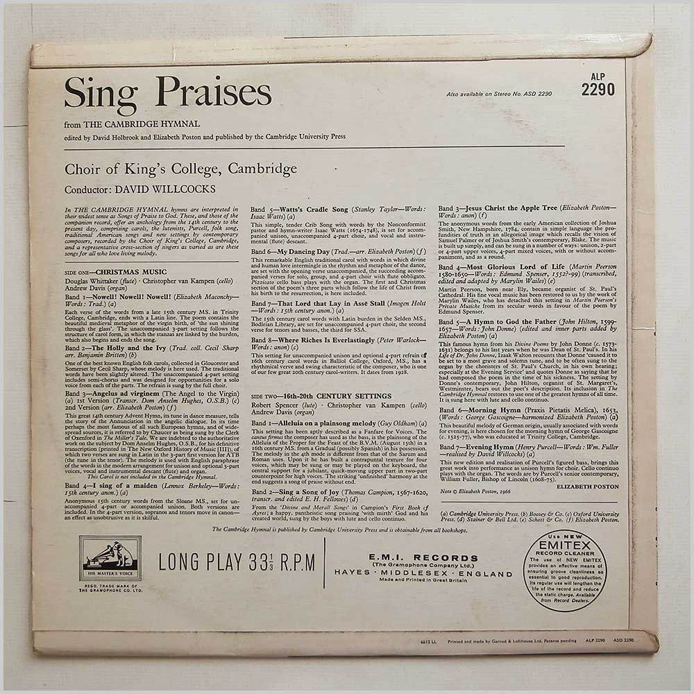 Choir Of King's College, Cambridge - Sing Praises From The Cambridge Hymnal (ALP 2290)