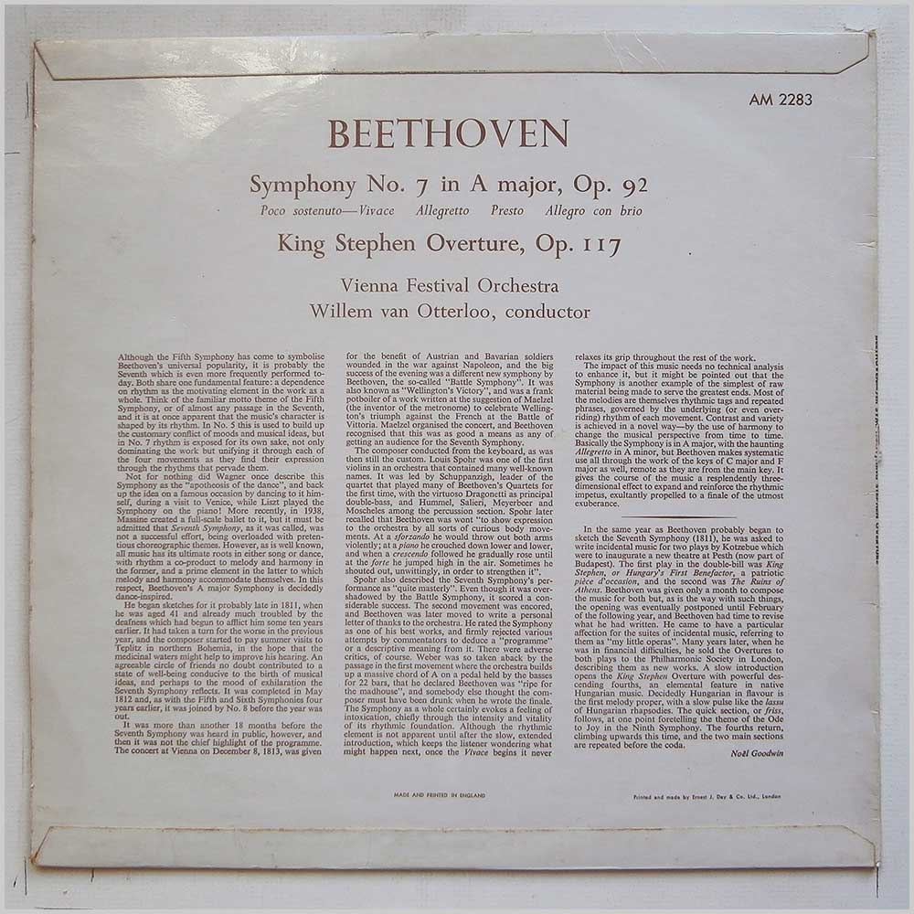 Willem Van Otterloo, Vienna Festival Orchestra - Beethoven: Symphony No.7, King Stephen Overture (AM 2283)