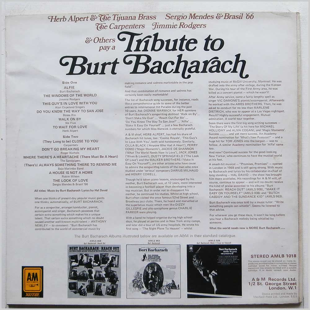 Various - Tribute To Burt Bacharach (AMLB 1018)