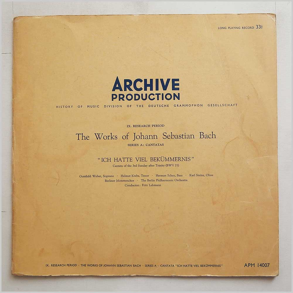 The Berlin Philharmonic Orchestra - The Works Of Johann Sebastian Bach Series A Cantata: Ich Hatte Viel Bekummernis (APM 14007)