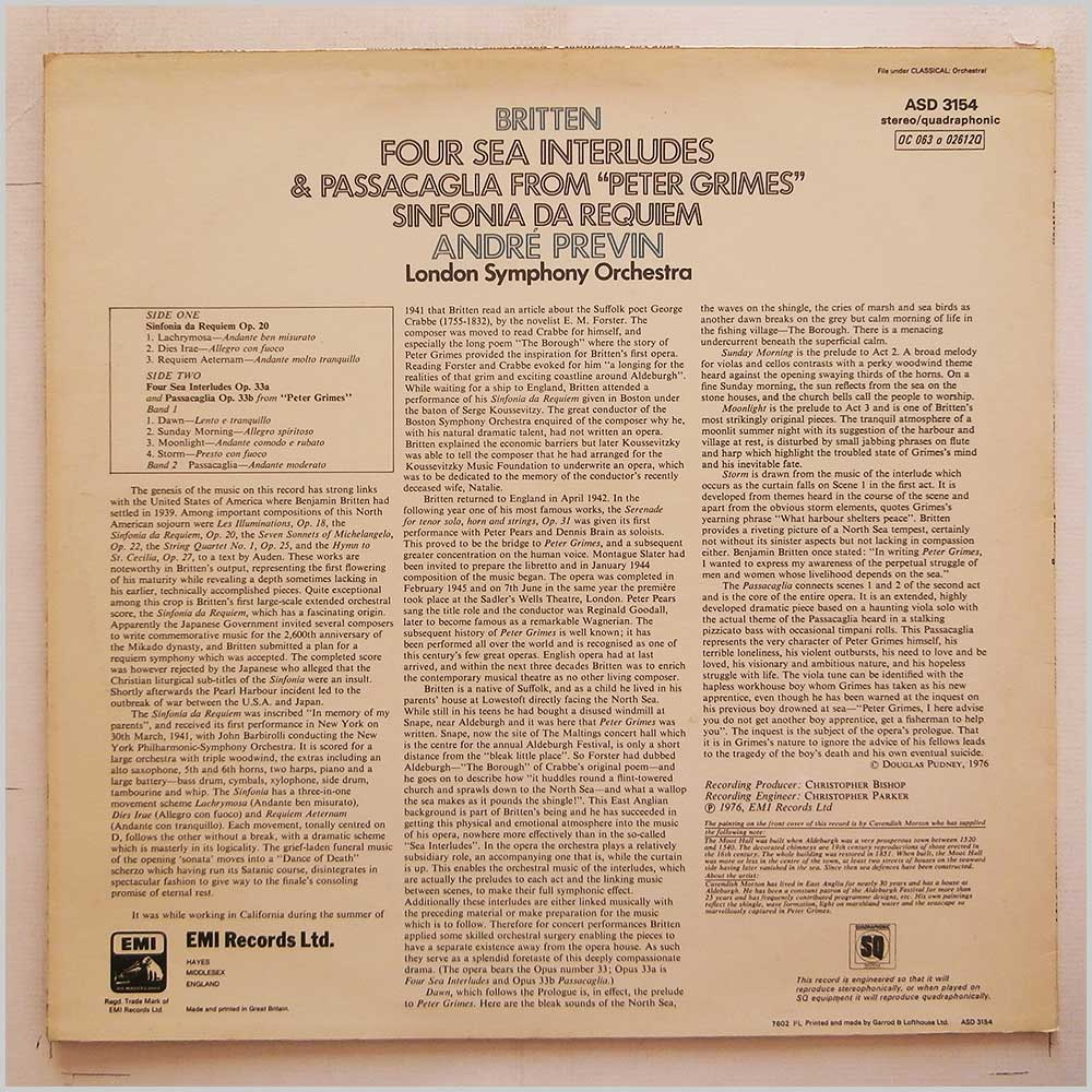 Andre Previn, London Symphony Orchestra - Britten: Four Sea interludes and Passacaglia From Peter Grimes, Sinfonia Da Requiem (ASD 3154)