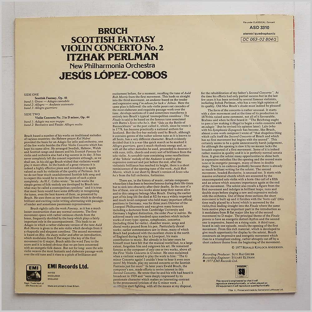 Itzhak Perlman - Bruch: Scottish Fantasy Violin Concerto No. 2 (ASD 3310)