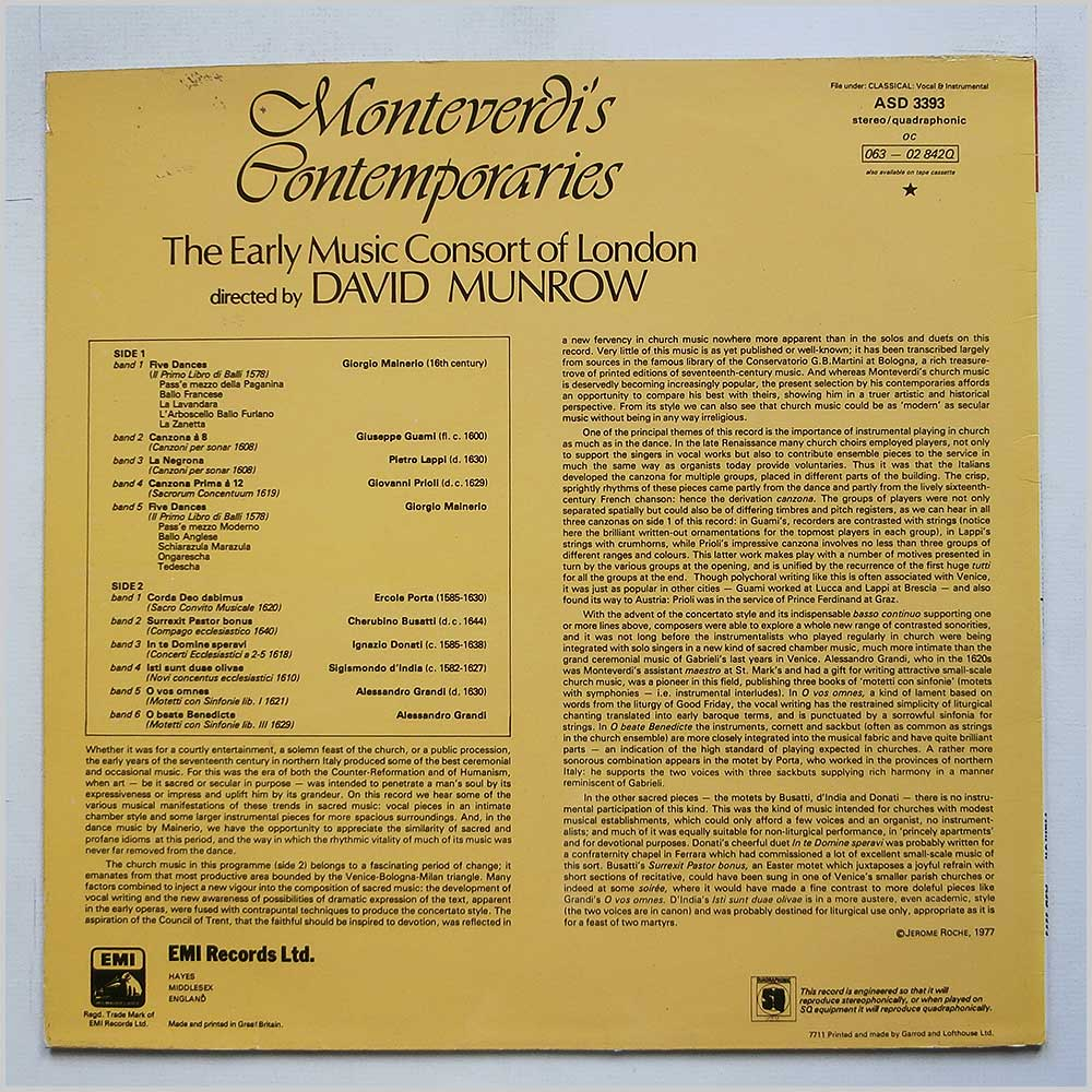 The Early Music Consort Of London - Monteverdi's Contemporaries (ASD 3393)