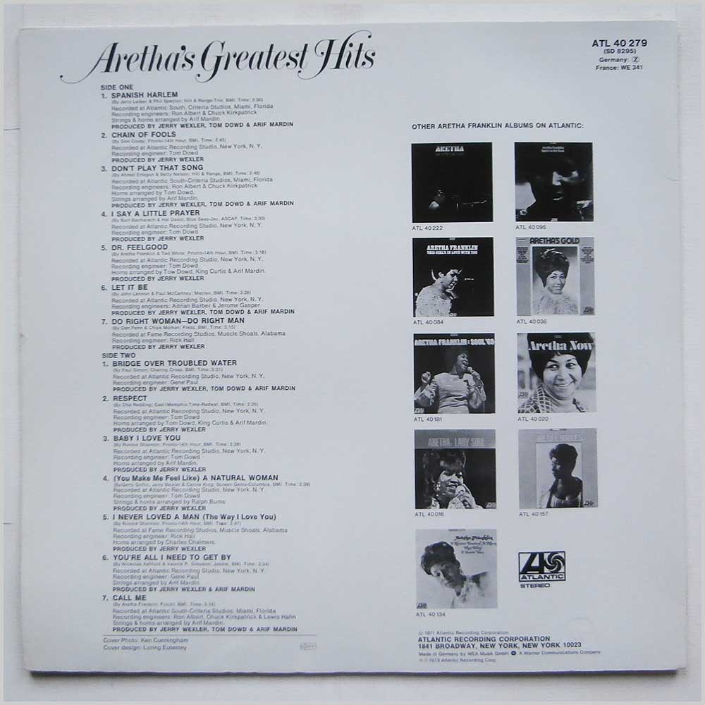 Aretha Franklin - Aretha's Greatest Hits (ATL 40 279)