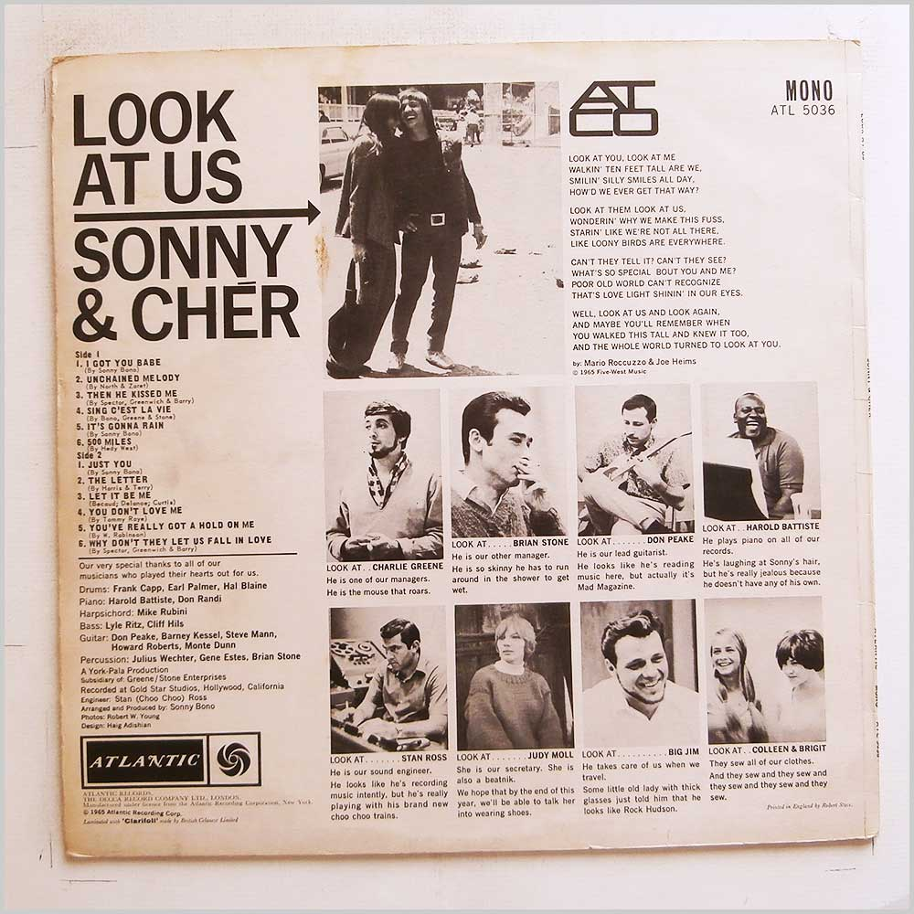 Sonny and Cher - Look At Us (ATL 5036)