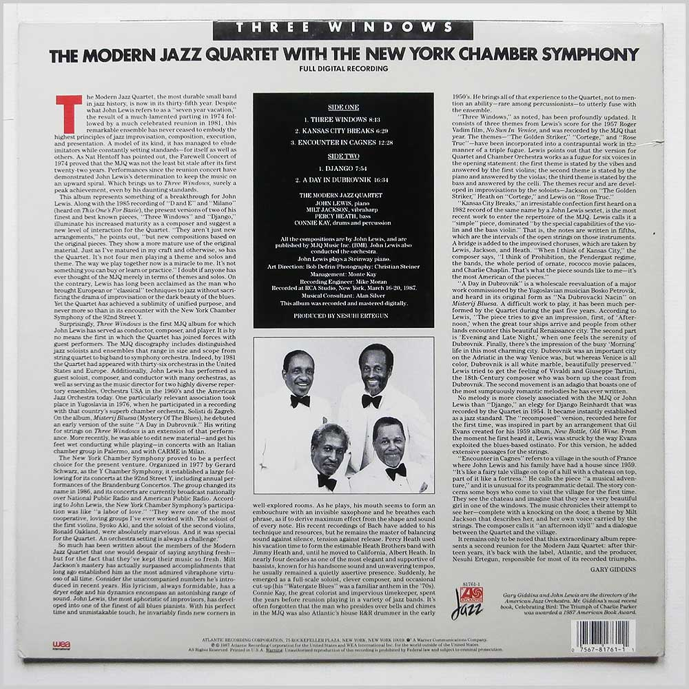 The Modern Jazz Quartet with The New York Chamber Symphony - Three Windows (ATLANTIC 7 81761-1)