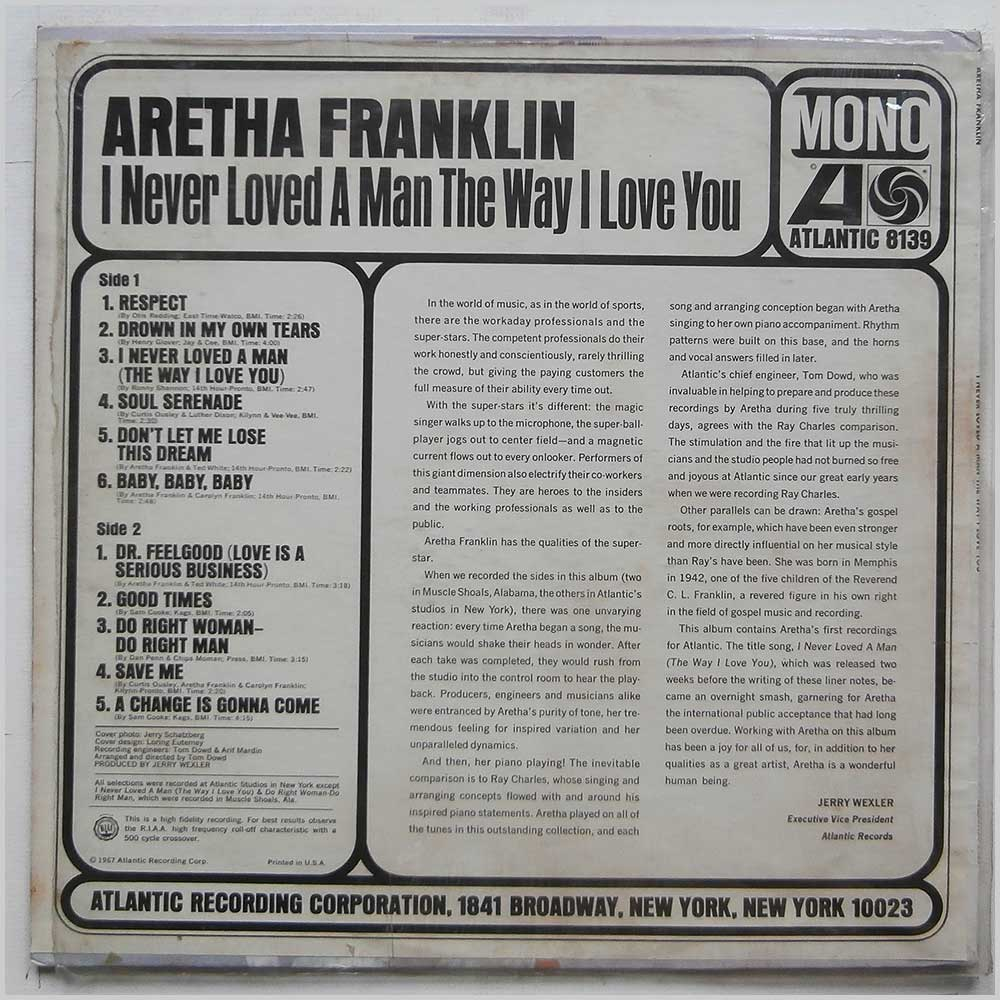 Aretha Franklin - I Never Loved A Man The Way I Love You (ATLANTIC 8139)