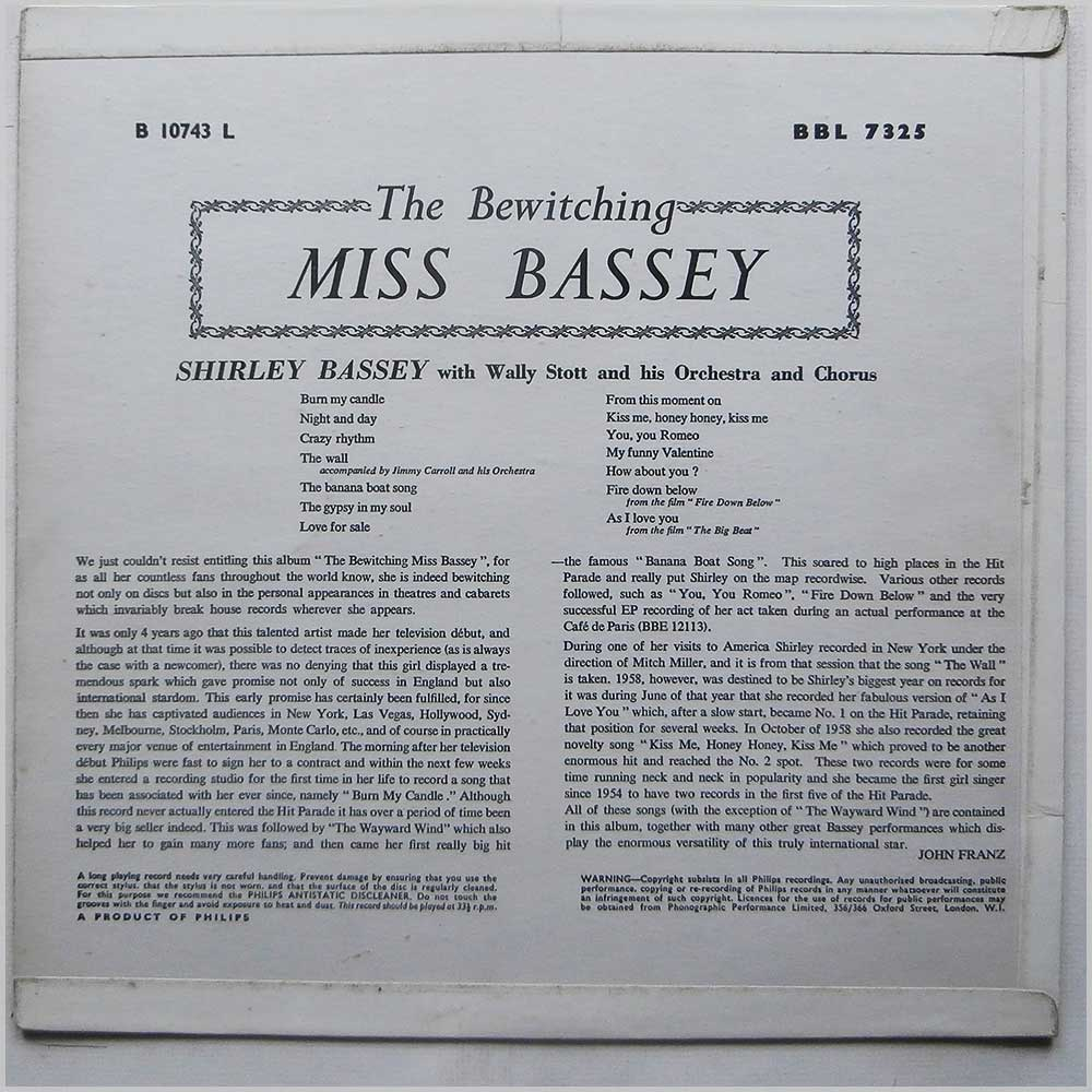 Shirley Bassey - The Bewitching Miss Bassey (BBL 7325)