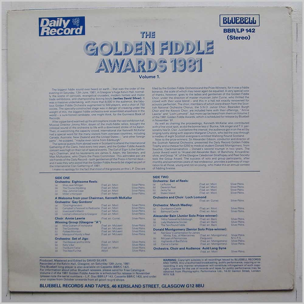 The Golden Fiddle Orchestra - The Golden Fiddle Awards 1981 (BBR/LP 142)