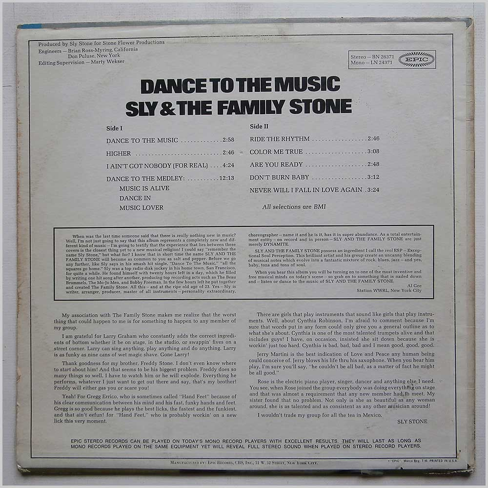 Sly And The Family Stone - Dance To The Music (BN 26371)