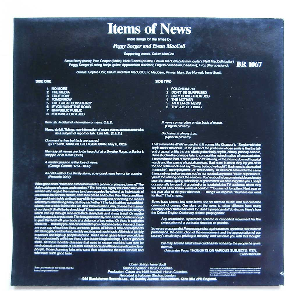 Peggy Seeger and Ewan MacColl - Items Of News (BR 1067)