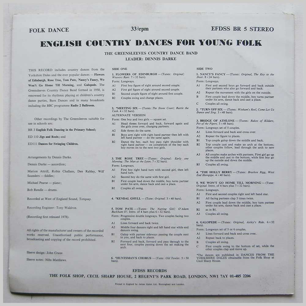 The Greensleeves Country Dance Band, Dennis Darke - English Country Dances For Young Folk (BR 5)