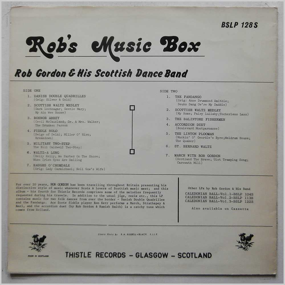 Rob Gordon And His Scottish Dance Band - Rob's Music Box (BSLP 128S)
