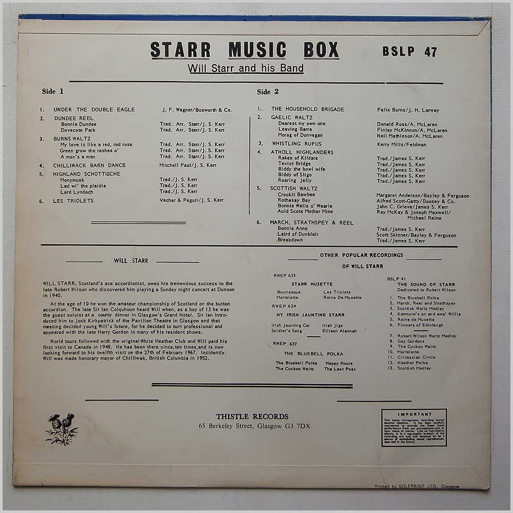 Will Starr And His Band - Starr Music Box (BSLP 47)