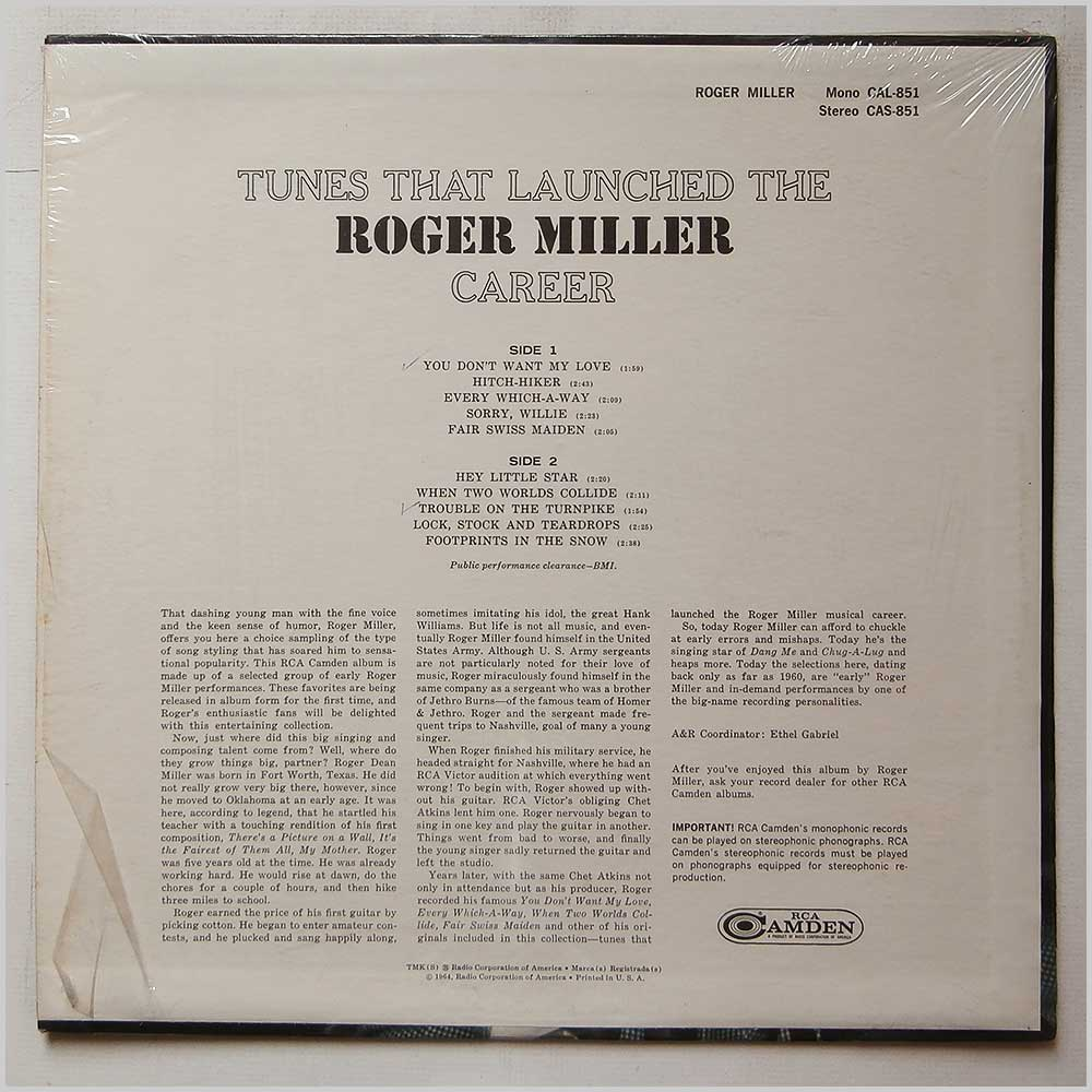 Roger Miller - Tunes That Launched The Roger Miller Career (CAL 851)