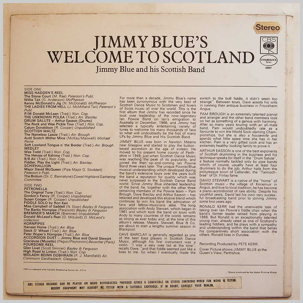 Jimmy Blue and His Scottish Band - Jimmy Blue's Welcome To Scotland (CBS 52697)