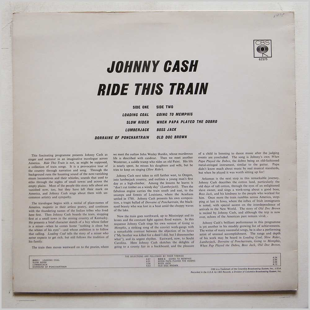 Johnny Cash - Ride This Train (CBS 62575)