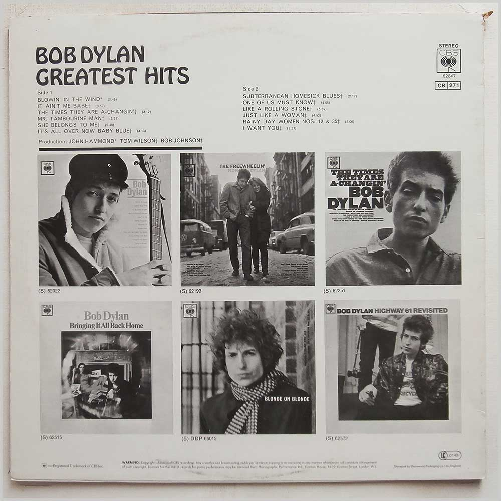 Bob Dylan - Greatest Hits (CBS 62847)