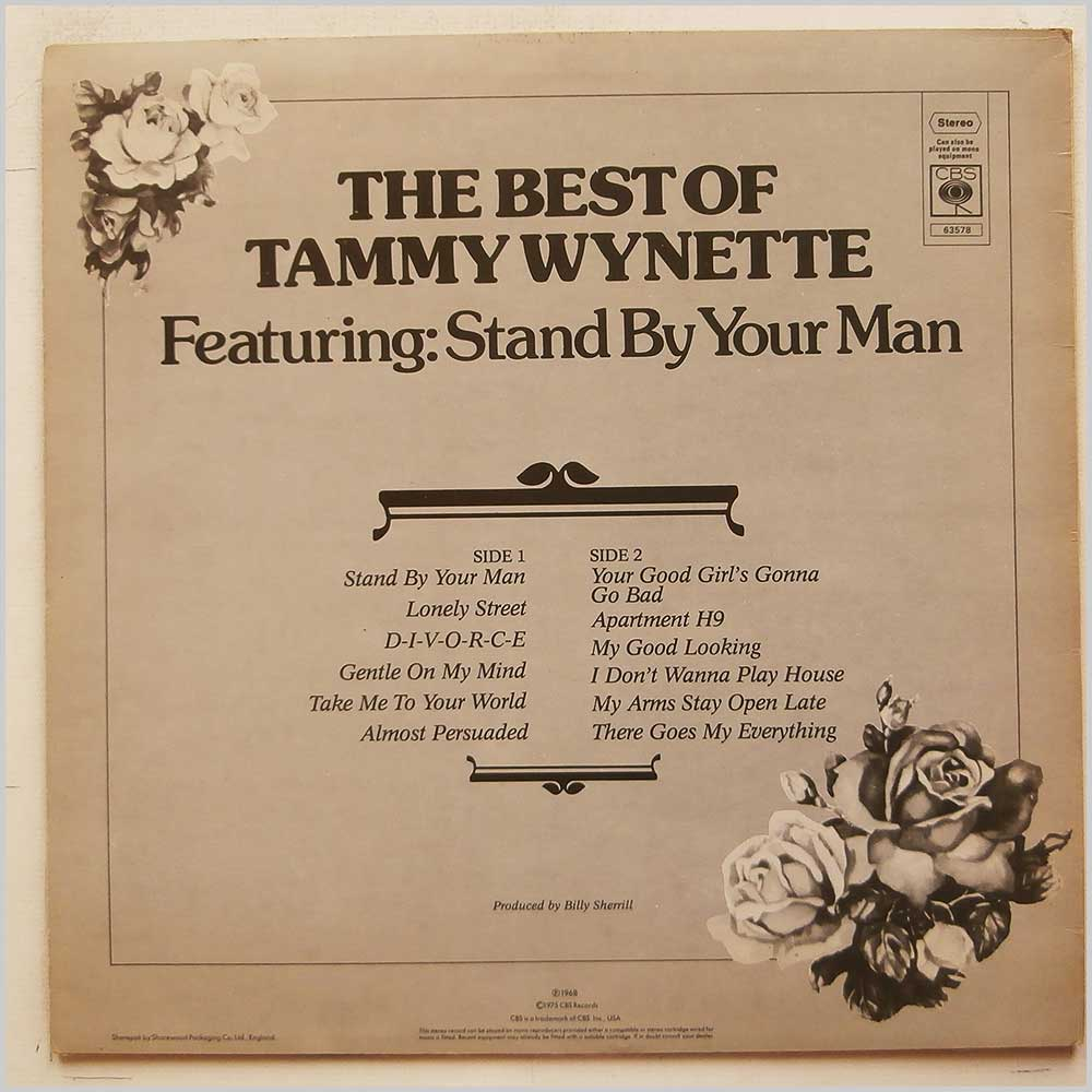Tammy Wynette - The Best Of Tammy Wynette Featuring Stand By Your Man (CBS 63578)